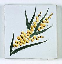 carreau décoré motif mimosa peint à la main