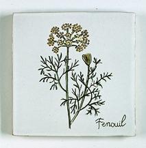 carreau décoré motif fenouil peint à la main