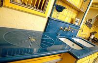 plan de travail en lave émaillée couleur bleu