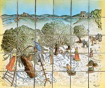 panneau décoratif la ceuillette sur carreaux de terre cuite