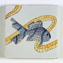 carreau décoré motif poisson 1 peint à la main - Salernes